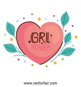 girl power lettering with heart and leafs