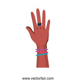 beautiful hand of afro woman with ring and bracelets