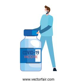 covid19 vaccine vial with doctor character