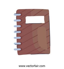 brown notebook school supply isolated icon