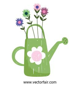 gardening watering can with flowers nature hand drawn color