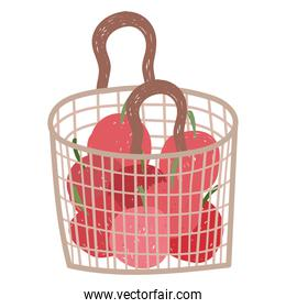gardening ecology basket with vegetables tomatoes