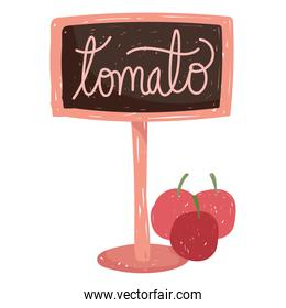gardening tomato lettering signboard and vegetables