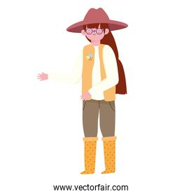 cute girl with hat and boots character cartoon