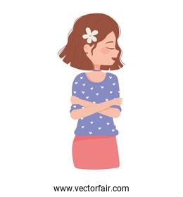 beautiful woman character with flower in hair cartoon