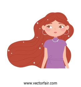 portrait cute young woman with brown long hair cartoon