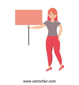 woman character holds placard white background