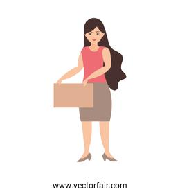 woman holds singboard cartoon white background