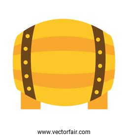 wooden beer barrel with tap icon flat style