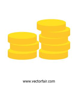 golden coins cash fortune icon flat style