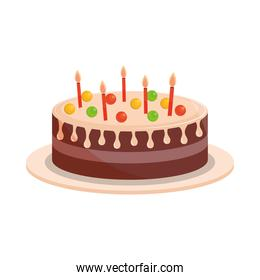 birthday cake with candles and sweet candies