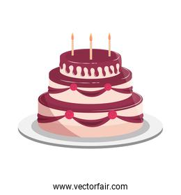birthday cake decorative flowers candles and chocolate