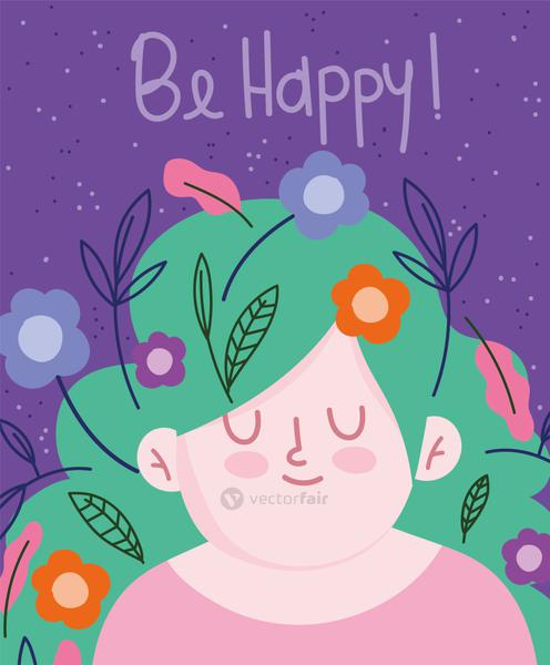 womens day, cute woman green hair with flowers decoration cartoon