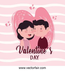 happy valentines day lettering card with lovers couple in heart