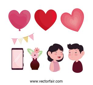 bundle of eight valentines day icons