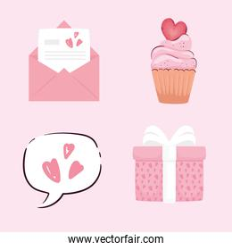 bundle of four valentines day icons in pink background