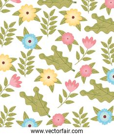 flowers colors and leafs garden pattern background