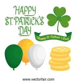 happy saint patricks day lettering in ribbon and set icons