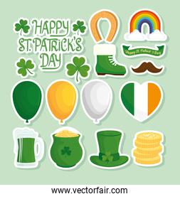 happy saint patricks day lettering with set icons