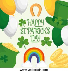 happy saint patricks day lettering with rainbow and set icons