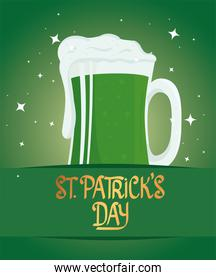 happy saint patricks day lettering with beer green
