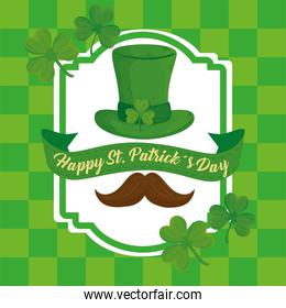 happy saint patricks day lettering in ribbon with mustache and leprechaun tophat