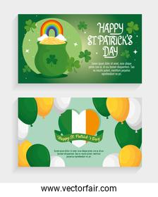 happy saint patricks day letterings with balloons helium and treasure cauldron