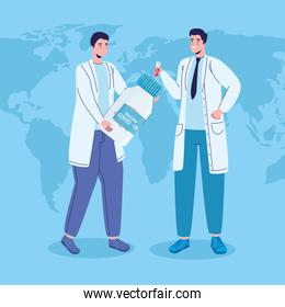 doctors with covid19 virus vaccine vial in earth planet