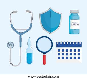 bundle of six covid19 vaccine set icons in blue background