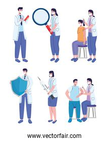 doctors staff with covid19 vaccination campaign characters