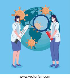 female doctors with covid19 vaccination search in earth planet