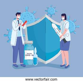 doctors couple with covid19 vaccination icons