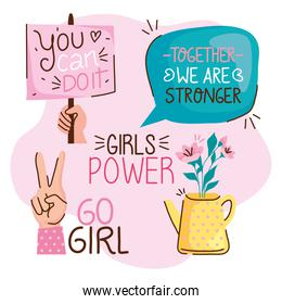 bundle of girl power letterings and icons