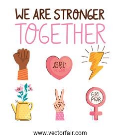 we are stronger together lettering with set icons