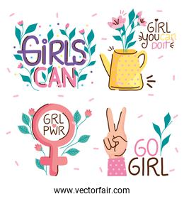 bundle of girl power elements and letterings