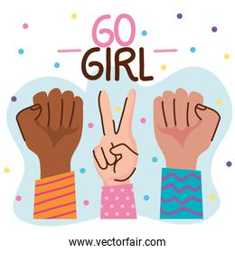 go girl lettering with hands signals