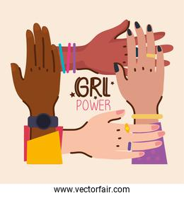 girl power lettering and diversity hands