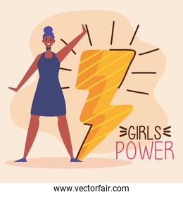 girl power lettering with afro woman and thunder ray
