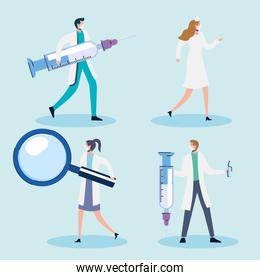 doctors staff with syringes and magnifying glass