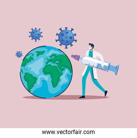 covid19 vaccine syringe with doctor and earth planet