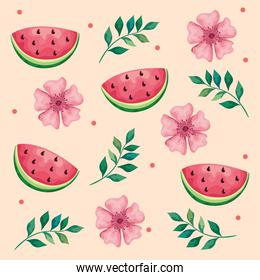 beautiful flowers and leafs with watermelons pattern