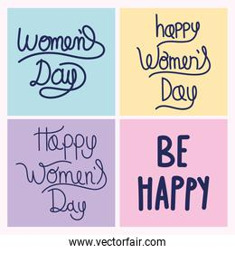 womens day hand drawn of letterings message motivational set