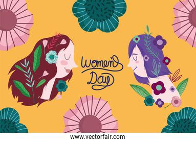 womens day lettering cute women flowers decoration cartoon