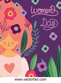womens day cute woman flowers and leaves in hair decoration cartoon