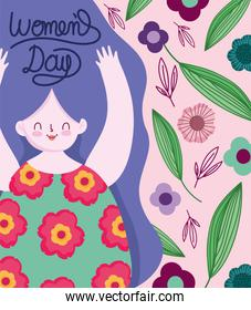 womens day happy woman flowers floral decoration cartoon