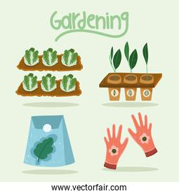 gardening icons cabbages plantation carrots gloves and seeds, hand drawn color