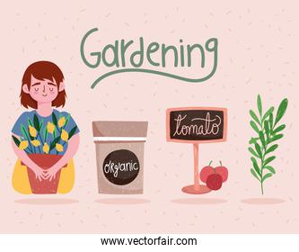 gardening girl with plant sign and tomatoes cartoon