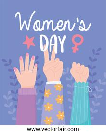 womens day, female hands up power together