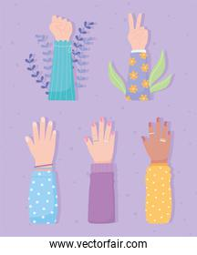 womens day, diverse raised hands female set
