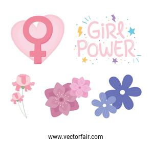 womens day, set with flowers and gender female girl power